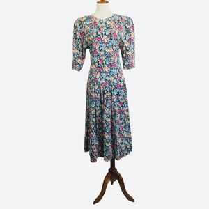 Vintage Eber 80s Floral Sweetheart Dress